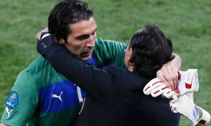 Italy goalkeeper Gianluigi Buffon, left